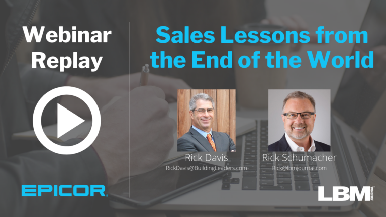 Webinar Replay:   Sales Lessons from the End of the World